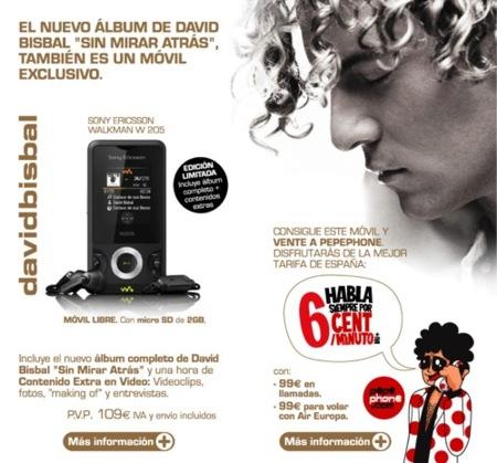 Pepephone ofrece un móvil con el disco de David Bisbal