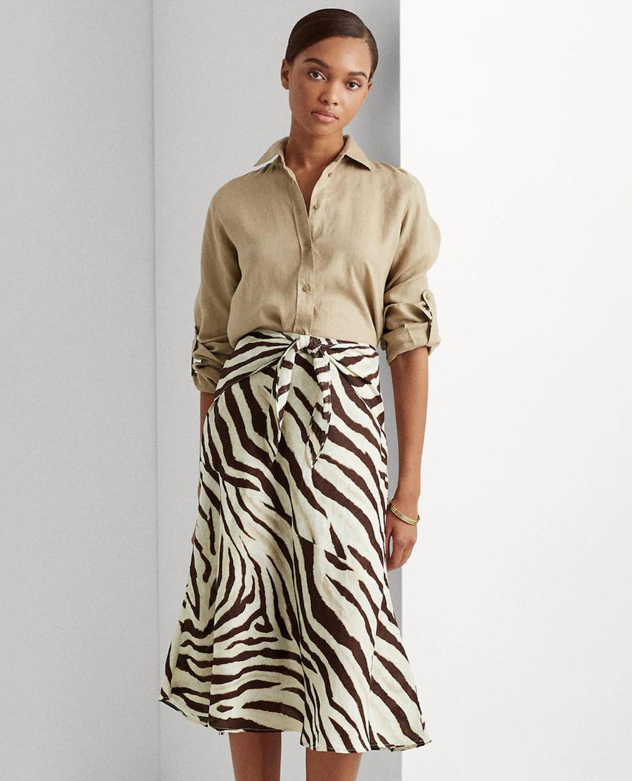 Falda midi con estampado de animal print