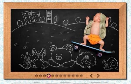 Foto de bebé sobre la pizarra