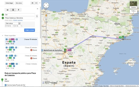 Google Maps incluye los trenes de larga y media distancia Renfe