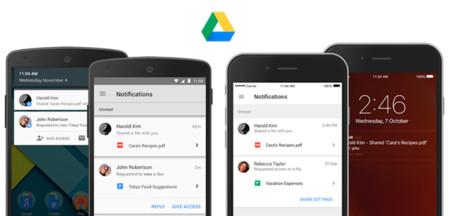 Google Drive se actualiza, con notificaciones de archivos compartidos y gestión de permisos