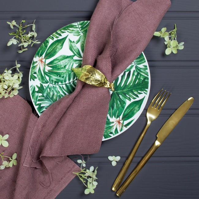 Gold Cutlery Set 24pc 95 Gold Leaf Napkin Rings 35 95 Tropical Plates Set Of 4 36 95