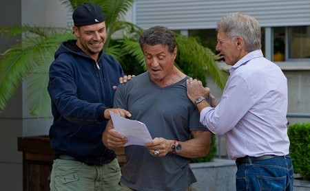 Patrick Hughes con Sylvester Stallone y Harrison Ford