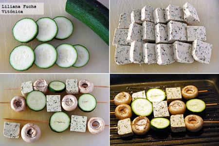 Brochetas de tofu y verduras a la parrilla. Receta saludable. Pasos