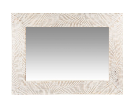 Espejo En Mango Color Beige Y Blanco 58x79 Cm