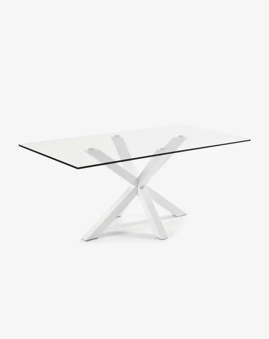 Mesa Argo 200 x 100 cm cristal patas de acero acabado blanco