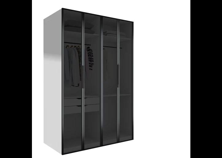 Armario ropero puerta abatible Spaceo home Seúl Cristal Ahumado 160x240x60 cm