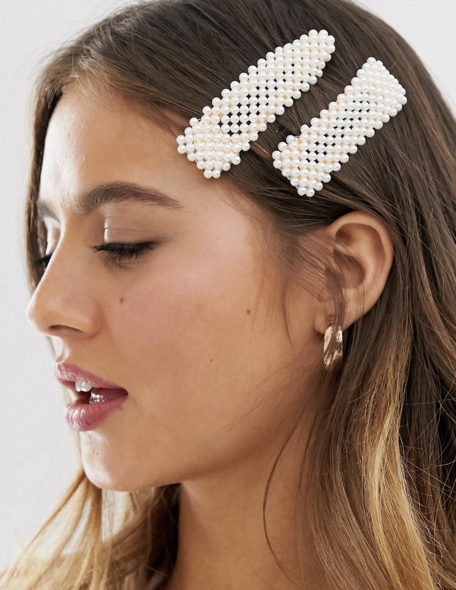 Pack de 2 pasadores con perlas de imitación de DesignB London