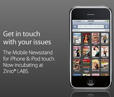 Zinio, lector de revistas (por el momento) gratis en iPhone, Touch y Safari