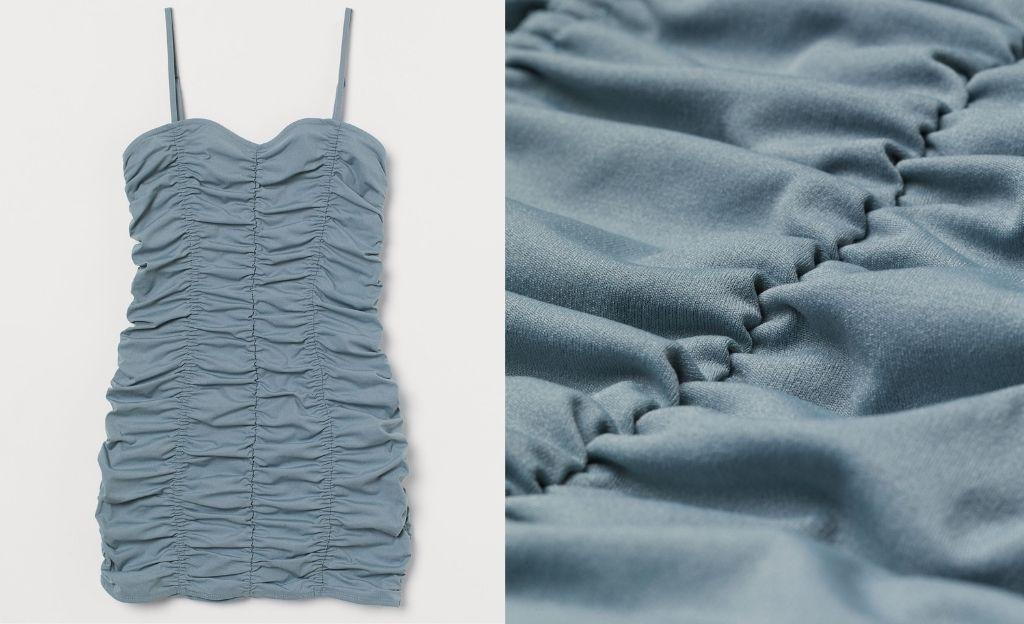 Vestido fruncido de color azul