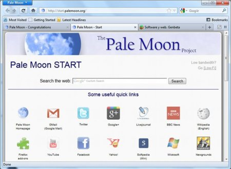 Pale Moon project, un fork de Firefox con versión de 64 bits