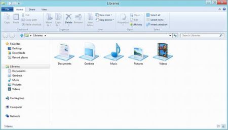 Explorador de archivos de Windows 8