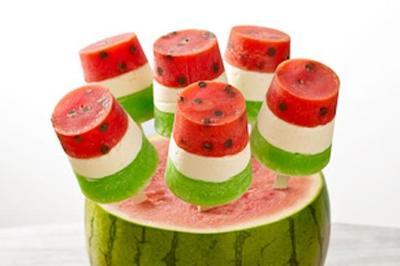 Cocinar con niños: polos de sandías tricolor