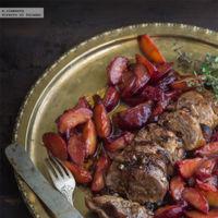 Solomillo de cerdo al horno con ciruelas claudias y citronella. Receta