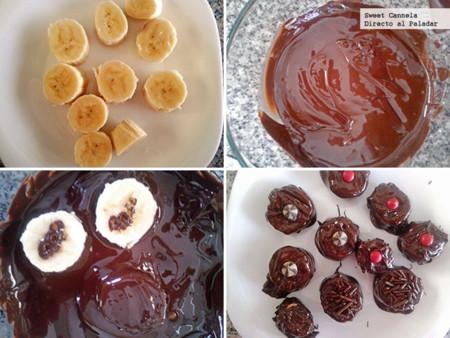 Preparación choco-plátanos