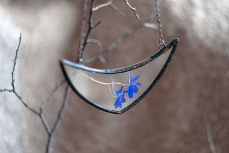 Pressed Flower Leaf Jewelry Stained Glass Wwheart 6