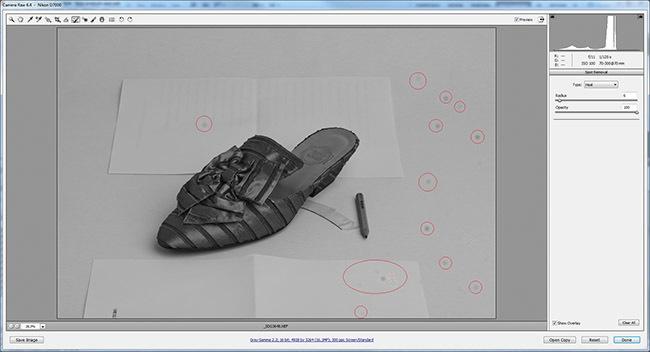 Retoque para eliminación de motas de polvo del sensor