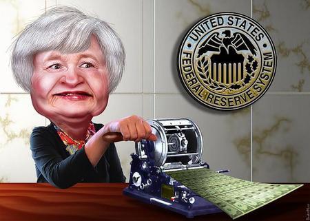 Janet Yellen imprimiendo