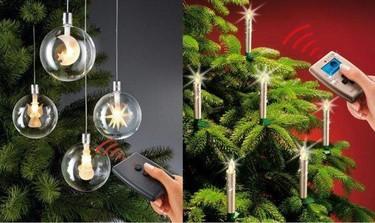 Bolas y velas: adornos de Navidad LED sin cables