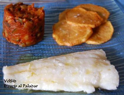 Bacalao con sanfaina y patatas panadera