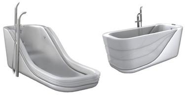 Una bañera hinchable por un lado, facilita el acceso a su interior