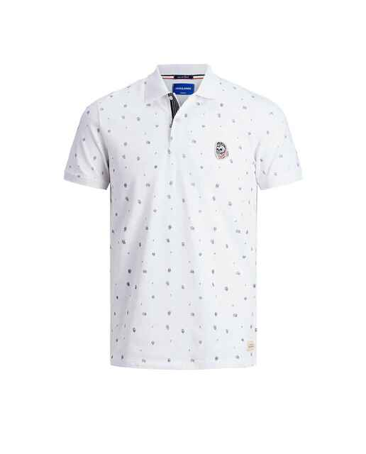 Camiseta polo blanca con microprint
