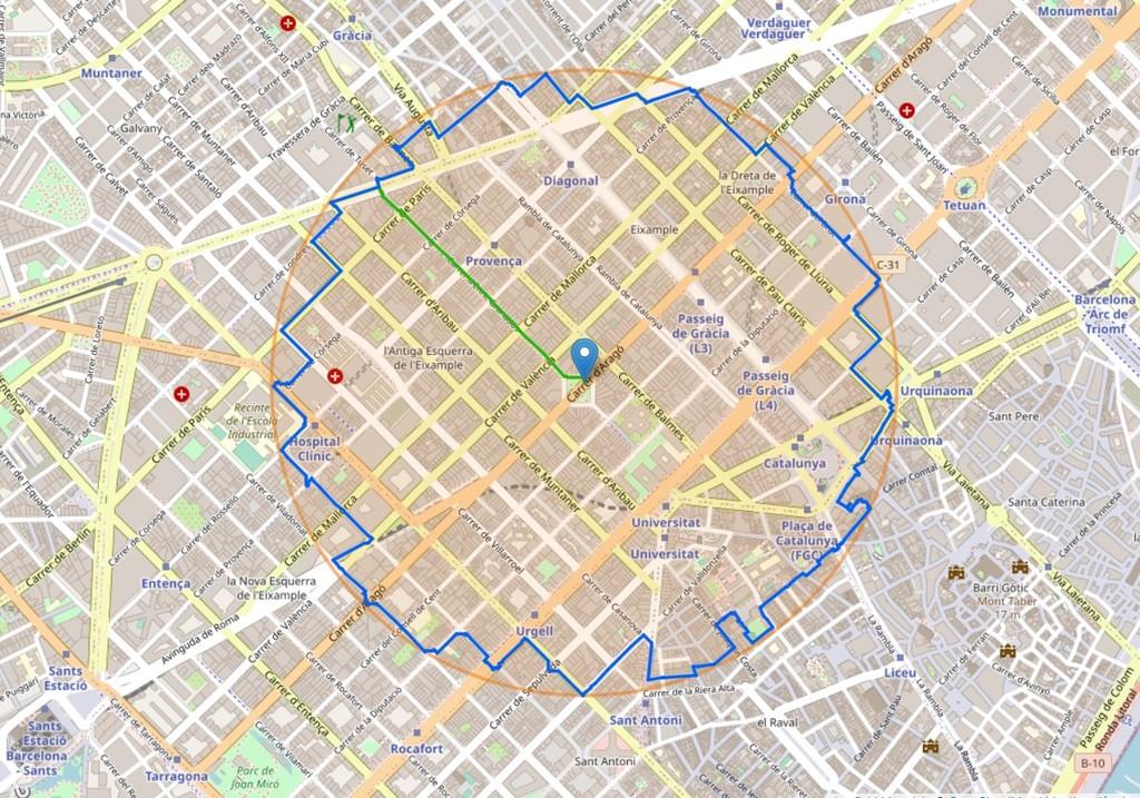 Esta web te crea el paseo más largo posible en un kilómetro alrededor de tu casa