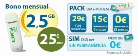 Digi mobil estrena tarifa de contrato para módems USB con 2.5 GB por 25 euros al mes