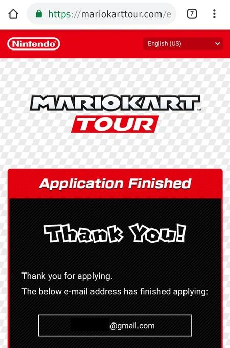 Mario Kart Tour Registro Beta