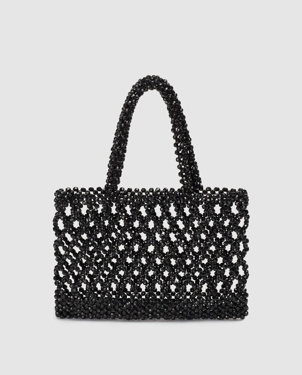 Shopping pequeño El Corte Inglés en negro con entramado de abalorios a tono