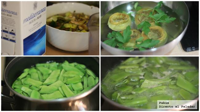 cociendo verduras en agua de mar