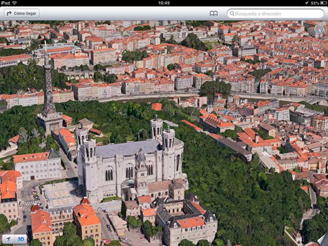 Mapa 3D de Lyon en iOS 6 beta 4 (Flyover)