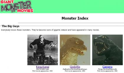 Lista de películas de los monstruos de cine