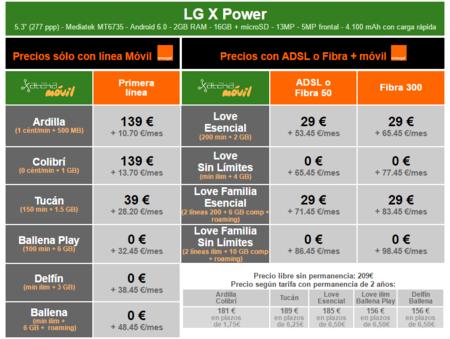 Precios Lg X Power Con Tarifas Orange