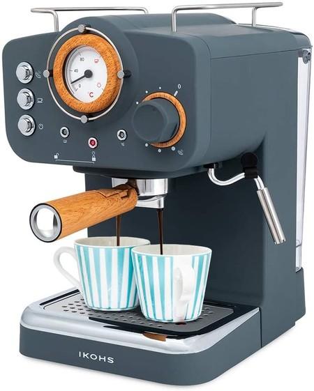 Ikohs Thera Retro Cafetera Express Para Espresso Y Cappucino 1100w 15 Bares Vaporizador Orientable Capacidad 1 25l Cafe Molido Y Monodosis Con Doble Salida Gris