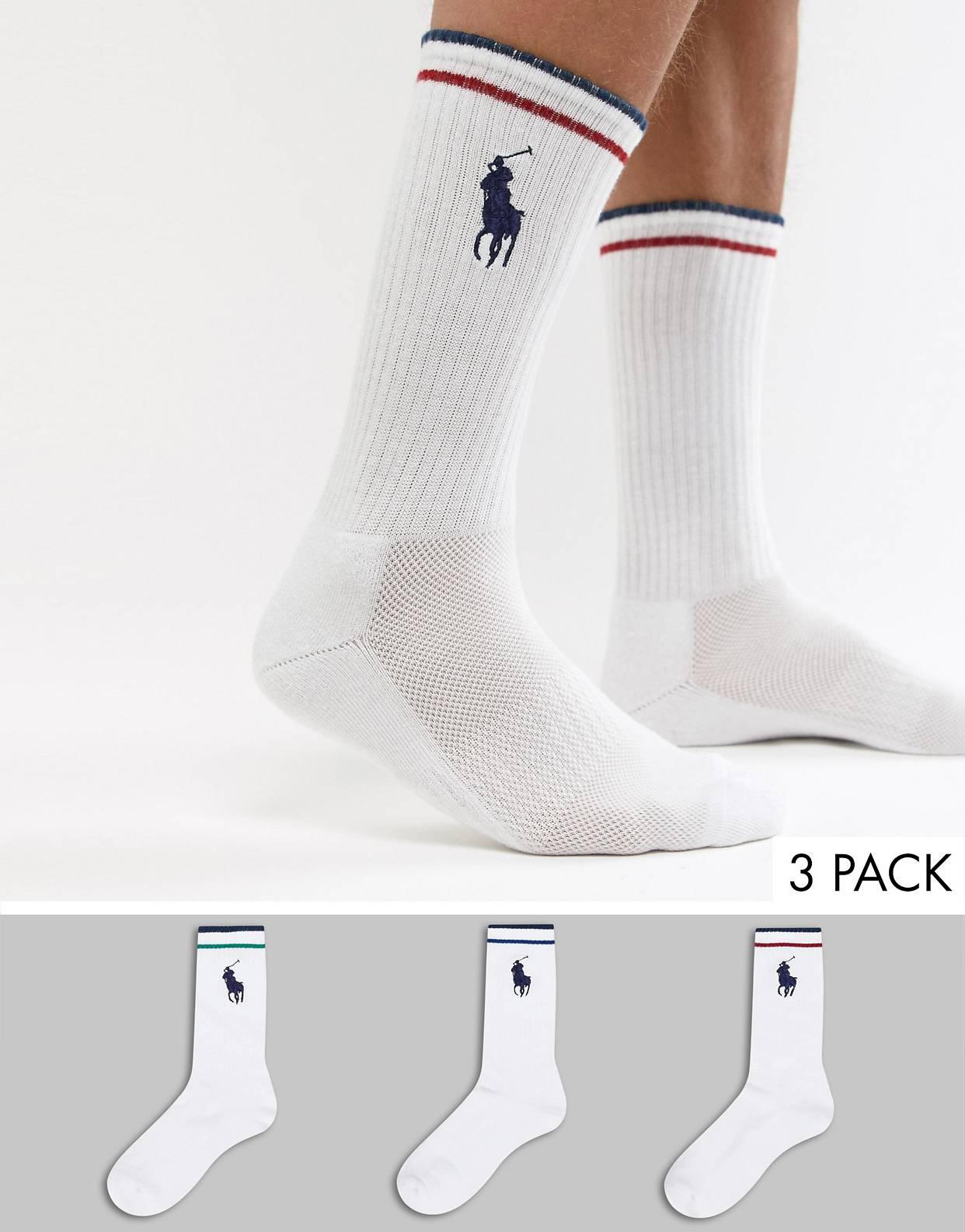 Pack de 3 pares de calcetines con logo de jugador grande en blanco/multicolor de Polo Ralph Lauren
