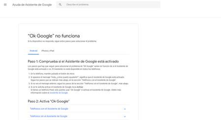 cinco pasos para arreglar Ok Google