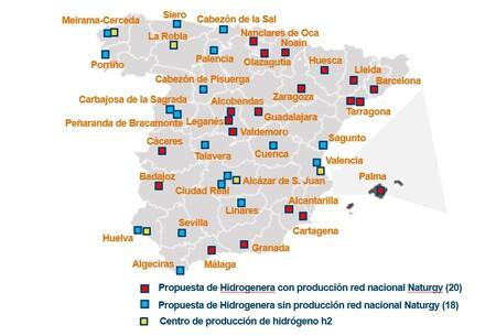 Este optimista mapa muestra que viajar por toda España en coche eléctrico de hidrógeno será posible en 2025