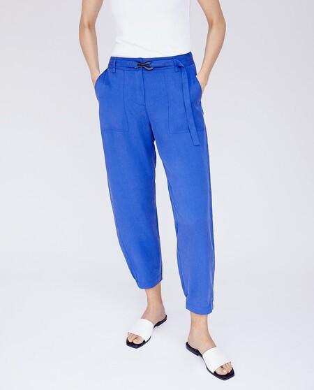 Pantalon Recto De Mujer Tobillero Con Maxibolsillos De Parche