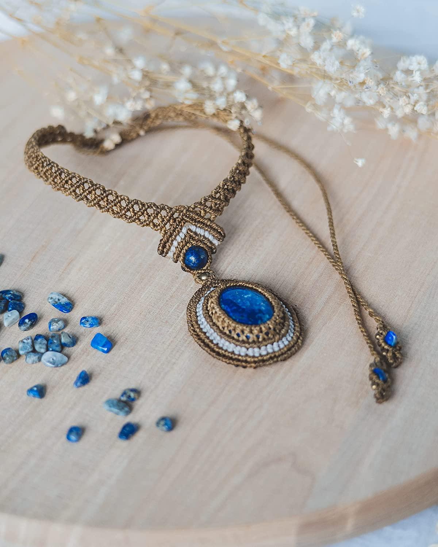 Gargantilla delicada lapislázuli, collar piedra macramé mujer, gargantilla bohemia, joyería regalo atención plena, collar amuleto cristal