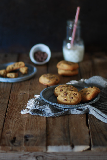 Peanut Butter Chocolate Chip Cookies Crema Cacahuete Dulces Bocados