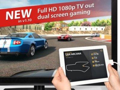 Real Racing 2 HD ya explota el uso de pantalla externa para el iPad 2