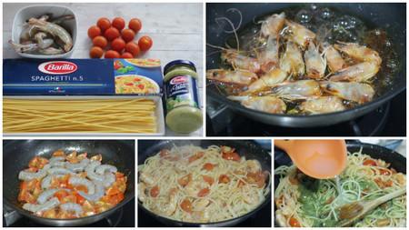 spaghetti barilla pesto langostinos pasos