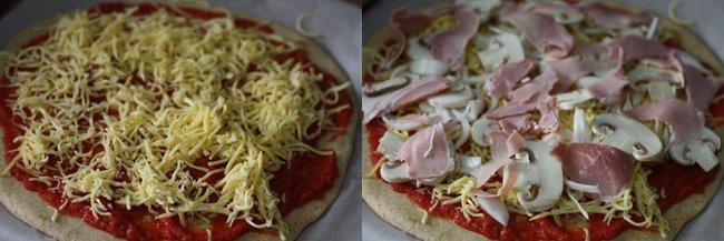 Pizza de jamón york y champis. Pasos