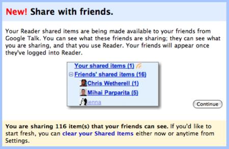 Google Reader: comparte entradas con tus contactos de Gtalk/Gmail