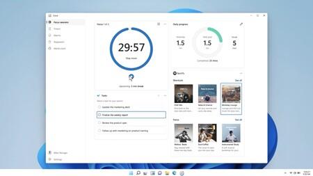 """Windows 11 tendrá un """"modo concentración"""" integrado con To Do, con pomodoro y listas de reproducción de Spotify"""
