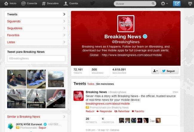 Nuevo perfil web en Twitter