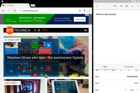 Android Nougat Multiventana