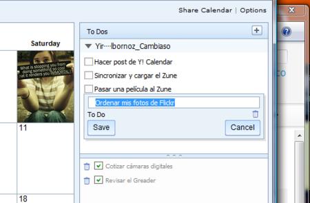 Listas de ToDo en Yahoo Calendar, demasiado pobres