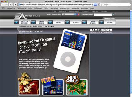 Los juegos del iPod ya aparecen en la página de EA